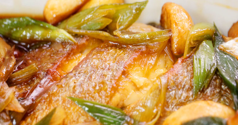 大蒜燒黃魚
